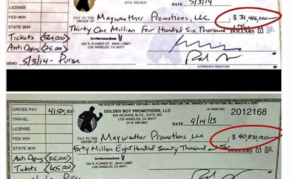 instagram picture of checks made out to mayweather's company in the high multi-millions