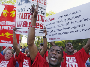 Fast-Food Workers Protesting
