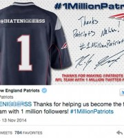 Picture of racist tweet sent from new england patriots account