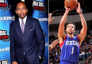 picture of stephen a. smith of espn and philadelphia 76'ers player he threatened